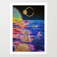 Space Clouds Crystals  Art Print