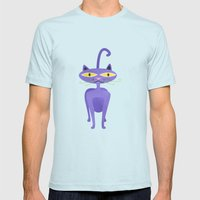 The Tiki Cat Mens Fitted Tee Light Blue SMALL