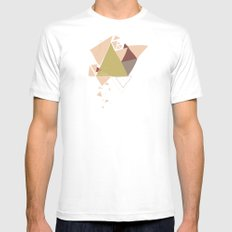 Exploding Triangles//Three SMALL White Mens Fitted Tee