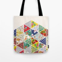 Geometric Floral Quilt Tote Bag