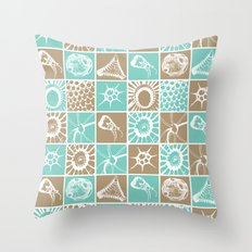 Microscopic Life Sillouetts Blue and Taupe Throw Pillow