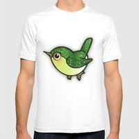 Cute Green Bird Mens Fitted Tee White SMALL
