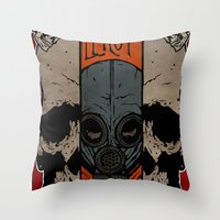 Split Skull Throw Pillow