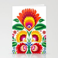 Folk flowers Stationery Cards