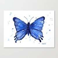 Butterfly Watercolor Blue Painting Canvas Print
