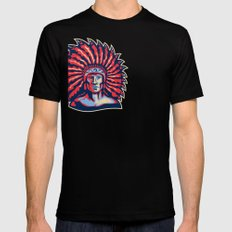 Native American Indian Chief Warrior Retro SMALL Black Mens Fitted Tee