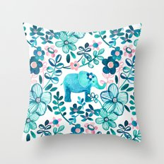 Dusty Pink, White and Teal Elephant and Floral Watercolor Pattern Throw Pillow