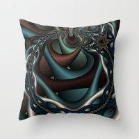 Spider Chain Fractal Throw Pillow