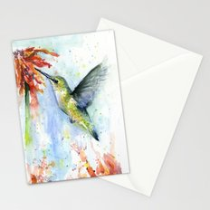Hummingbird and Red Flower Watercolor Stationery Cards