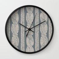 Cable Knit Grey Wall Clock