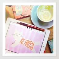 Happy Morning At The Caf… Art Print