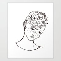 Young girl head Art Print