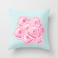 Shabby Chic Roses on  Blue Throw Pillow