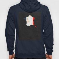 France Minimalist Vintage Map with Flag Hoody
