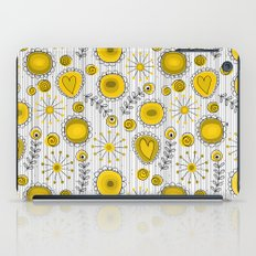 Whimsical flowers in yellow iPad Case