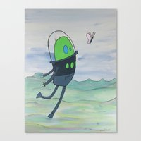 wonderment floats on pink wings Canvas Print