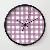 Gingham Plum Wall Clock