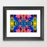 Psychedelic Pink Blue Fractal Framed Art Print