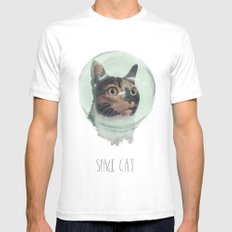 Space Cat SMALL Mens Fitted Tee White