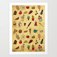Food Love Pattern Art Print