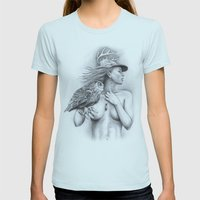 Mother Nature Womens Fitted Tee Light Blue SMALL