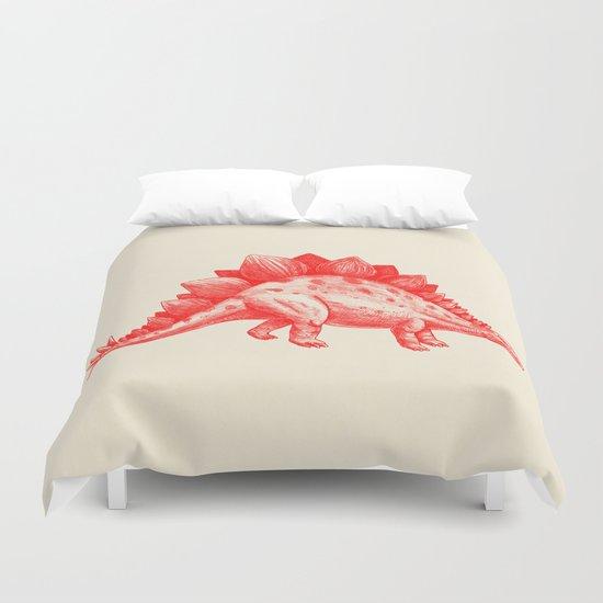 Red Stegosaurus  Duvet Cover
