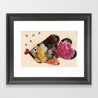 Flower Fish Valentine Framed Art Print