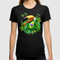 Toco Toucan With Brazil … Womens Fitted Tee Tri-Black SMALL