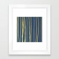 Vertical Living Navy and Gold Framed Art Print