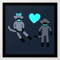 Sock Monkey Love Art Print