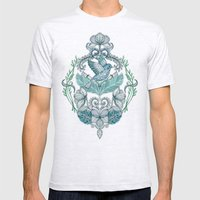 Not Even a Sparrow - hand drawn vintage bird illustration pattern Mens Fitted Tee Ash Grey SMALL