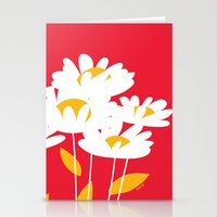 Flowers On Red By Frizti… Stationery Cards