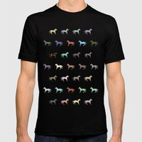 Colorful Horses Lantern Pattern  Mens Fitted Tee Black SMALL