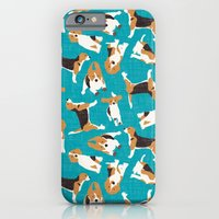 beagle scatter blue iPhone 6 Slim Case