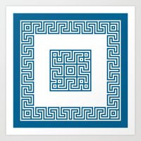 Greek Key Blue Art Print