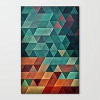 Teal/Orange Triangles Canvas Print