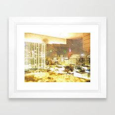Denver Through a Dirty Window Framed Art Print