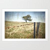 Tree Behind Fence Art Print