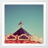 Crescent Moon Over Paris #2 Art Print
