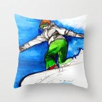 Snowboarder girl Throw Pillow