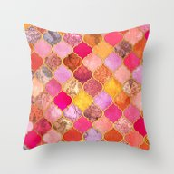 Hot Pink, Gold, Tangerin… Throw Pillow