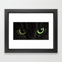 Green Cat Eyes Framed Art Print
