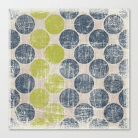 Vintage Distress Dots Bl… Canvas Print