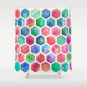 Hand Painted Watercolor Honeycomb Pattern Shower Curtain