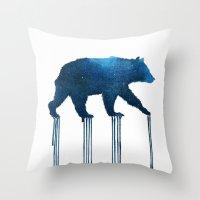 Watercolor : Indigo Bear Throw Pillow