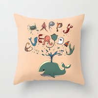 Happy Everyday Throw Pillow