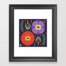 Flowerfully Folk Framed Art Print