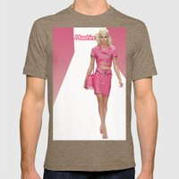 MOSCHINO RUNWAY BARBIE GIRL Mens Fitted Tee Tri-Coffee SMALL