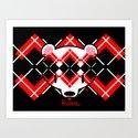 Aaargyle Kuma-chan Red & Blk Art Print