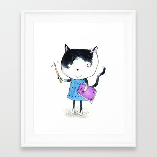 Creative Mono Cat  Framed Art Print